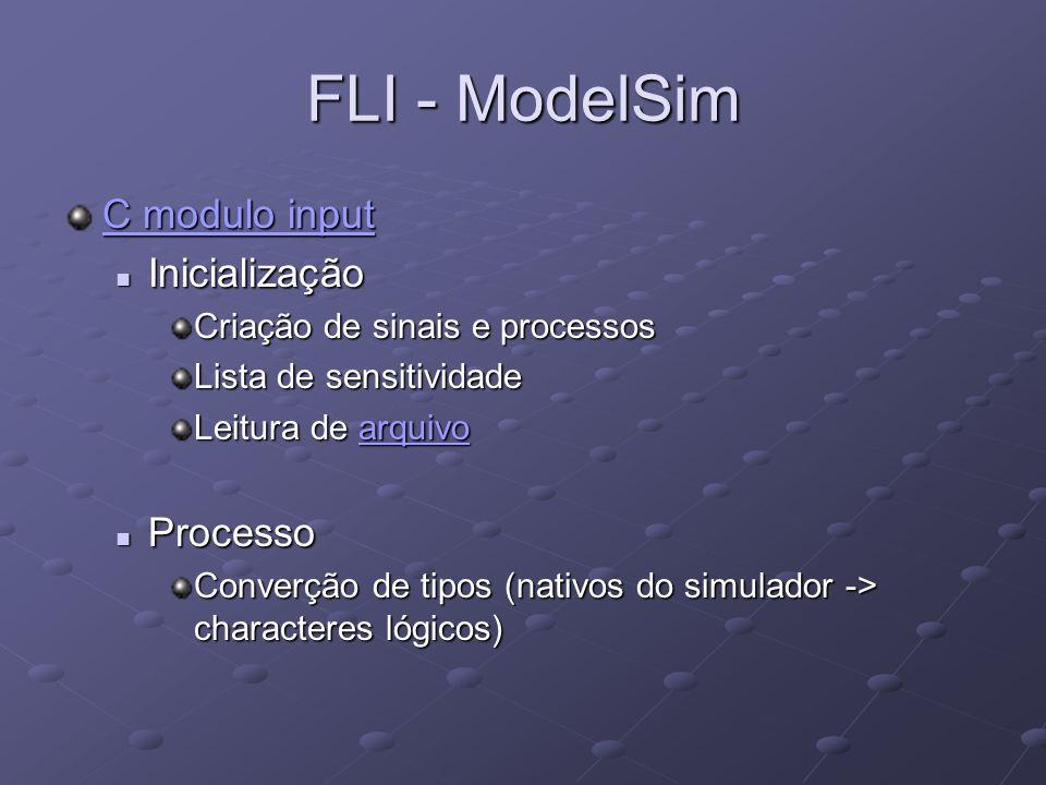 FLI - ModelSim C modulo input C modulo input Inicialização Inicialização Criação de sinais e processos Lista de sensitividade Leitura de arquivo arqui