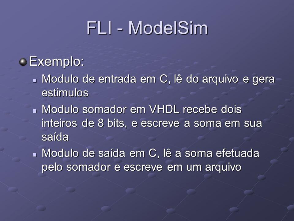 FLI - ModelSim Exemplo: Modulo de entrada em C, lê do arquivo e gera estimulos Modulo de entrada em C, lê do arquivo e gera estimulos Modulo somador e