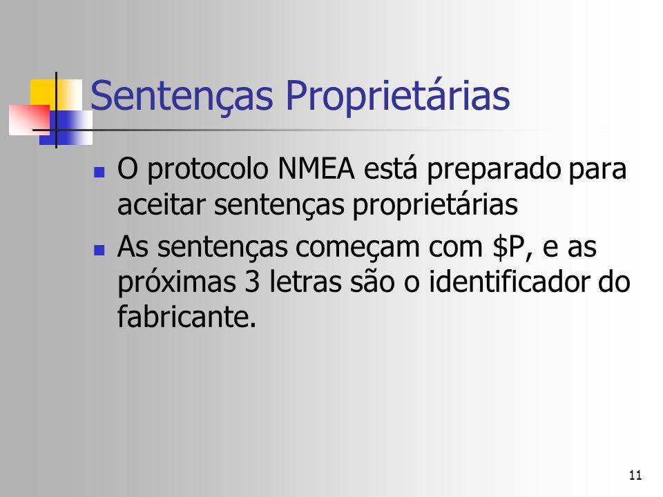 11 Sentenças Proprietárias O protocolo NMEA está preparado para aceitar sentenças proprietárias As sentenças começam com $P, e as próximas 3 letras sã