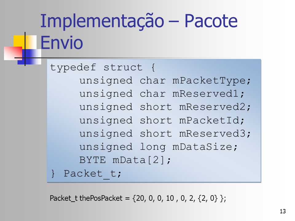 13 Implementação – Pacote Envio typedef struct { unsigned char mPacketType; unsigned char mReserved1; unsigned short mReserved2; unsigned short mPacketId; unsigned short mReserved3; unsigned long mDataSize; BYTE mData[2]; } Packet_t; typedef struct { unsigned char mPacketType; unsigned char mReserved1; unsigned short mReserved2; unsigned short mPacketId; unsigned short mReserved3; unsigned long mDataSize; BYTE mData[2]; } Packet_t; Packet_t thePosPacket = {20, 0, 0, 10, 0, 2, {2, 0} };