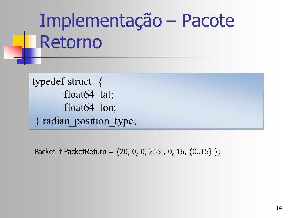 14 Implementação – Pacote Retorno typedef struct { float64 lat; float64 lon; } radian_position_type; typedef struct { float64 lat; float64 lon; } radi