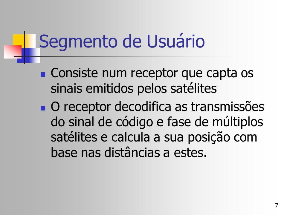 7 Segmento de Usuário Consiste num receptor que capta os sinais emitidos pelos satélites O receptor decodifica as transmissões do sinal de código e fa