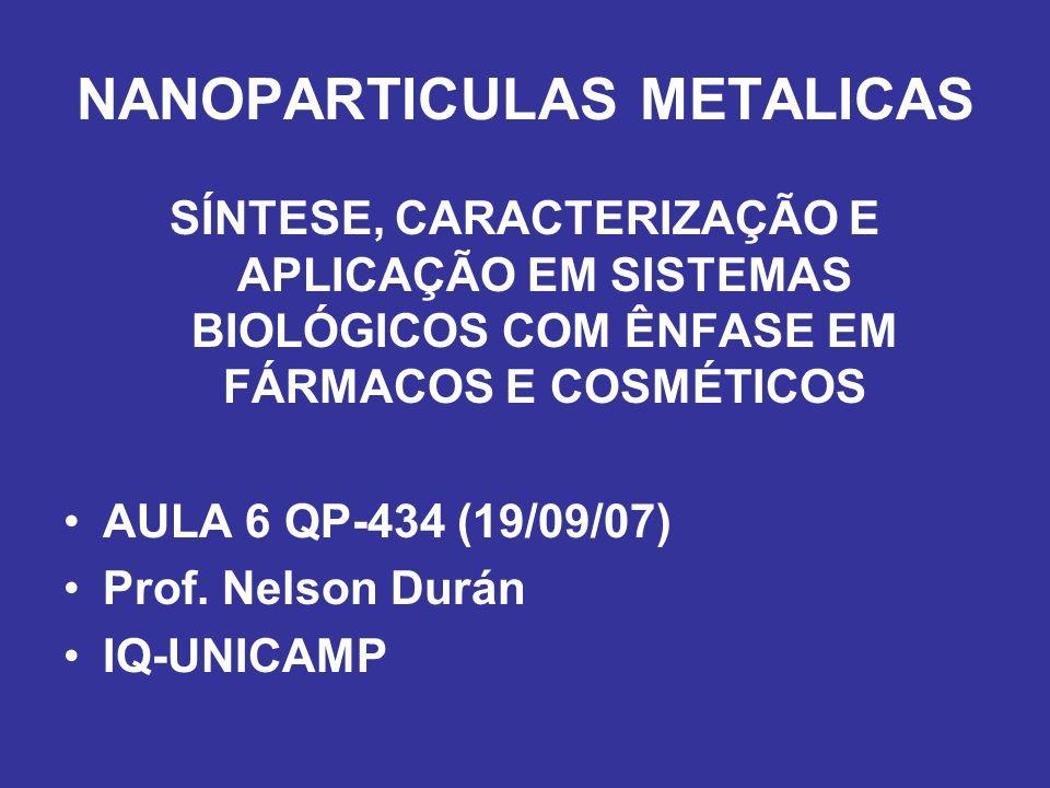 NANOPARTICULAS METALICAS SÍNTESE, CARACTERIZAÇÃO E APLICAÇÃO EM SISTEMAS BIOLÓGICOS COM ÊNFASE EM FÁRMACOS E COSMÉTICOS AULA 6 QP-434 (19/09/07) Prof.