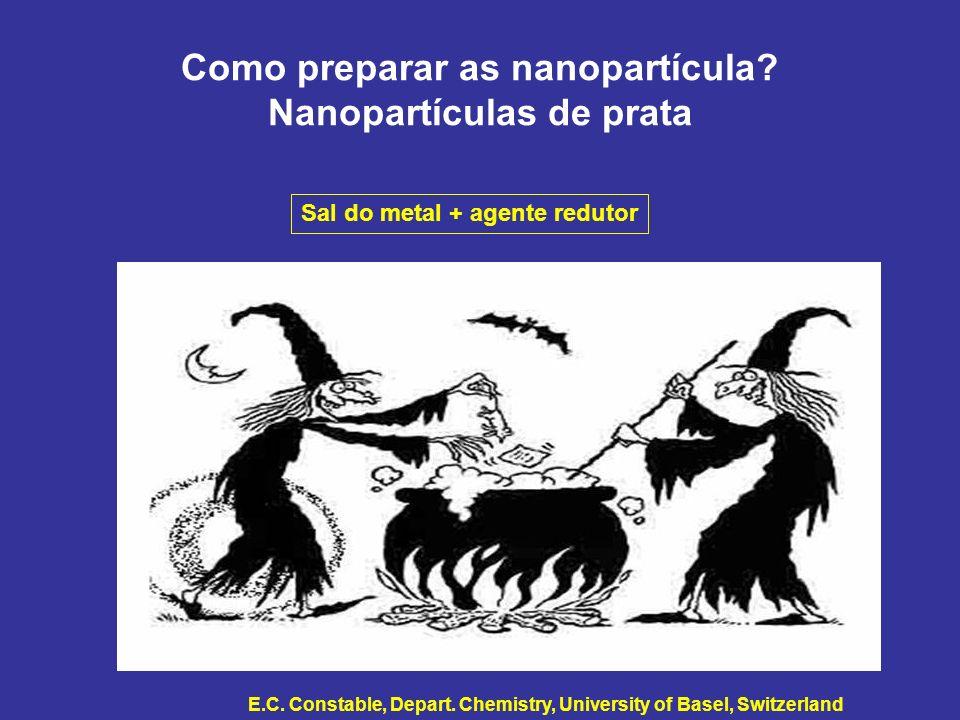 Como preparar as nanopartícula? Nanopartículas de prata Sal do metal + agente redutor E.C. Constable, Depart. Chemistry, University of Basel, Switzerl