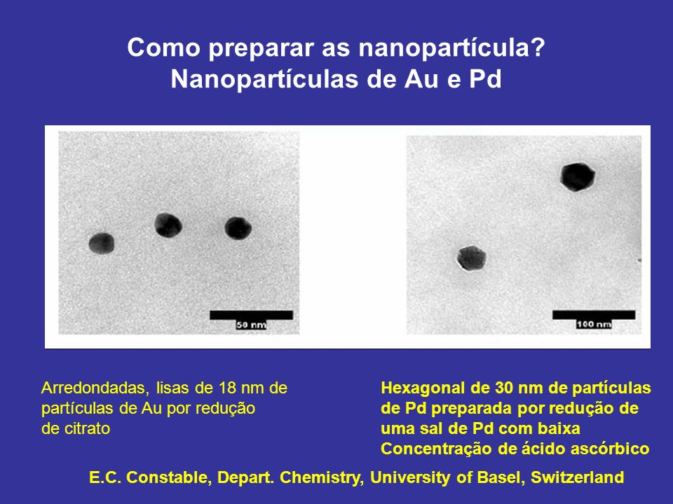 Como preparar as nanopartícula? Nanopartículas de Au e Pd Arredondadas, lisas de 18 nm de partículas de Au por redução de citrato Hexagonal de 30 nm d