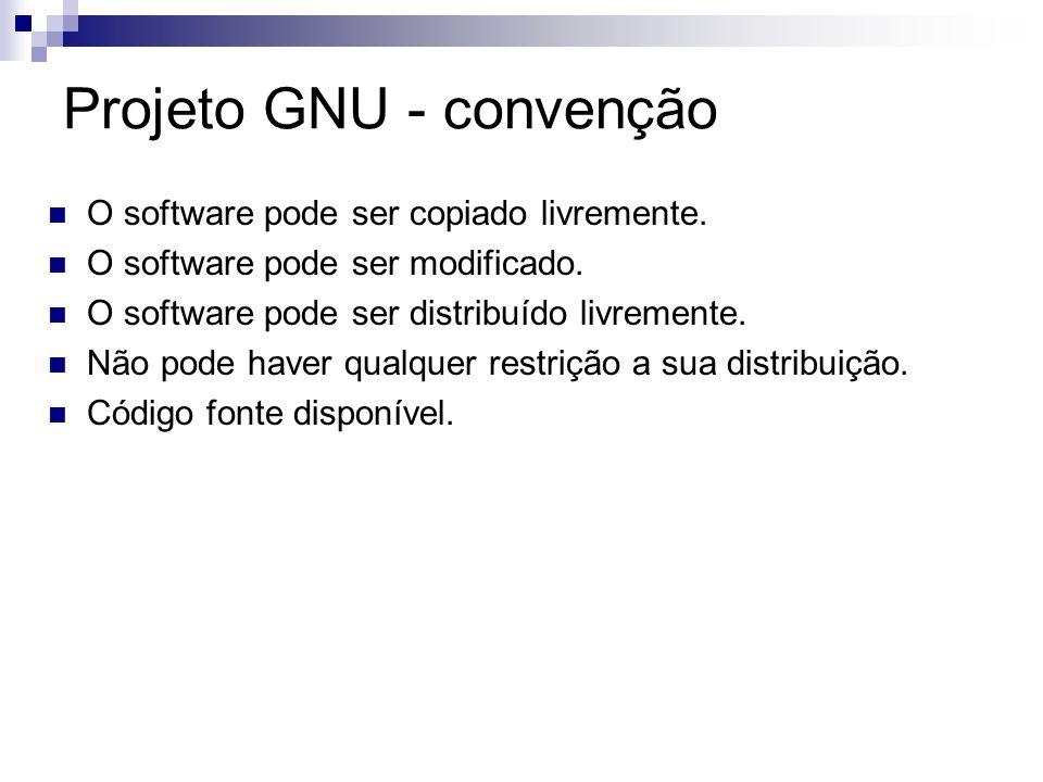 Projeto GNU - convenção O software pode ser copiado livremente. O software pode ser modificado. O software pode ser distribuído livremente. Não pode h