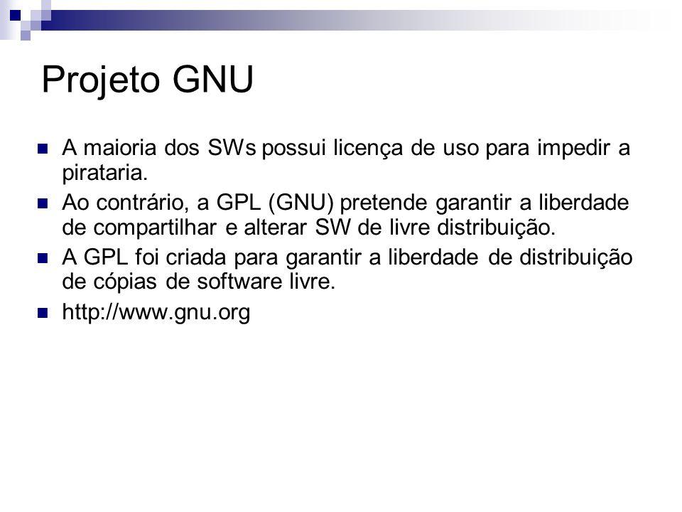 Projeto GNU A maioria dos SWs possui licença de uso para impedir a pirataria. Ao contrário, a GPL (GNU) pretende garantir a liberdade de compartilhar
