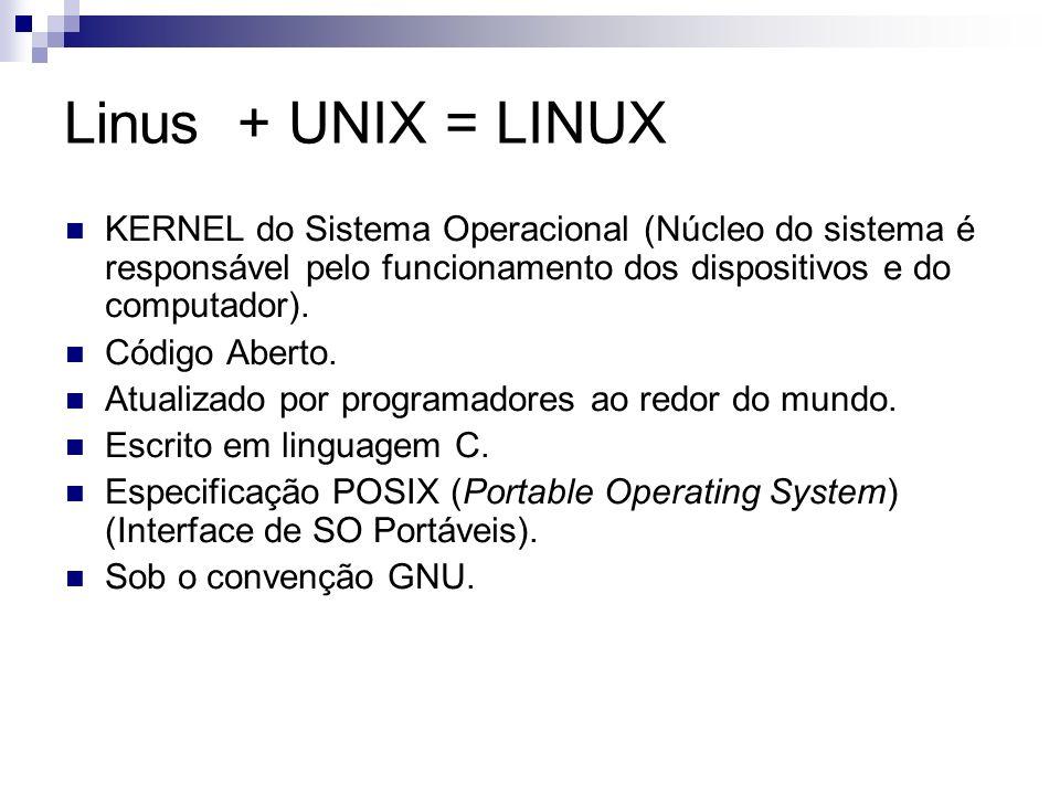 Linus + UNIX = LINUX KERNEL do Sistema Operacional (Núcleo do sistema é responsável pelo funcionamento dos dispositivos e do computador). Código Abert