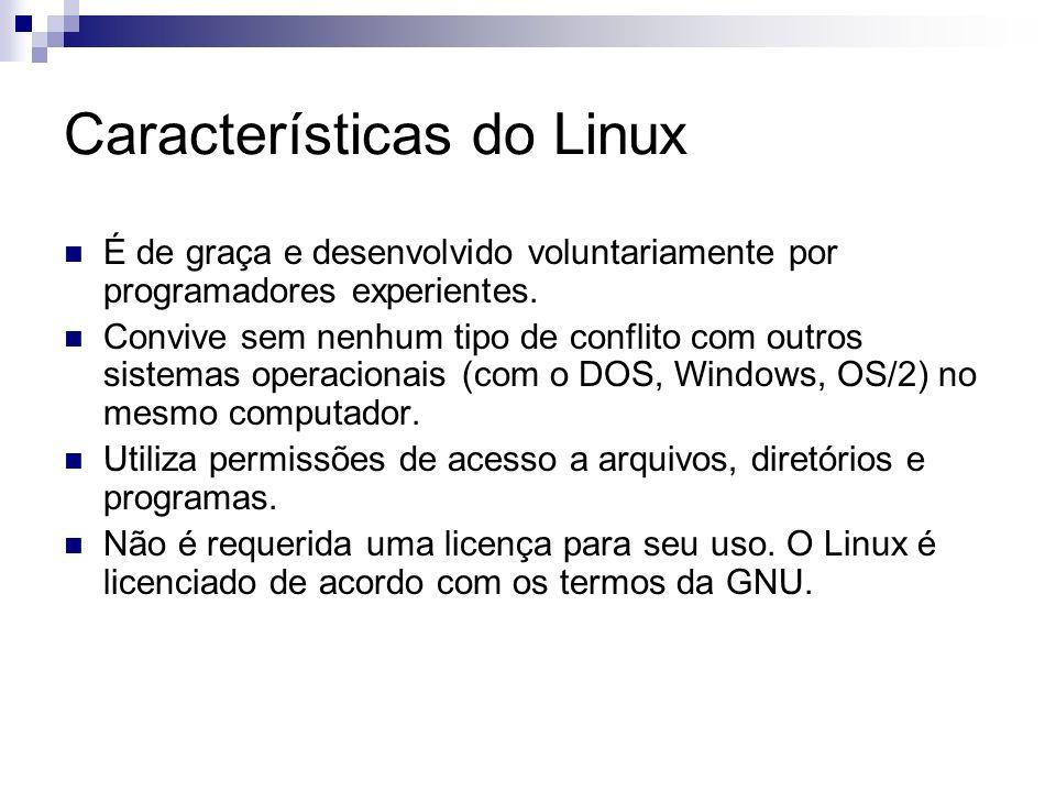 Características do Linux É de graça e desenvolvido voluntariamente por programadores experientes. Convive sem nenhum tipo de conflito com outros siste