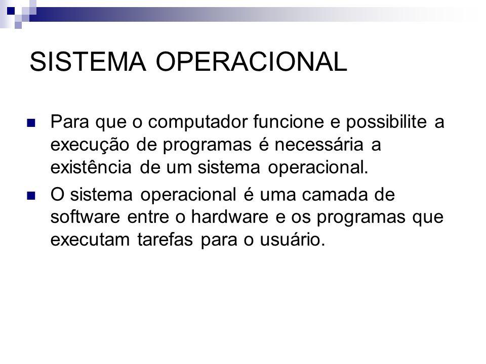 SISTEMA OPERACIONAL Para que o computador funcione e possibilite a execução de programas é necessária a existência de um sistema operacional. O sistem