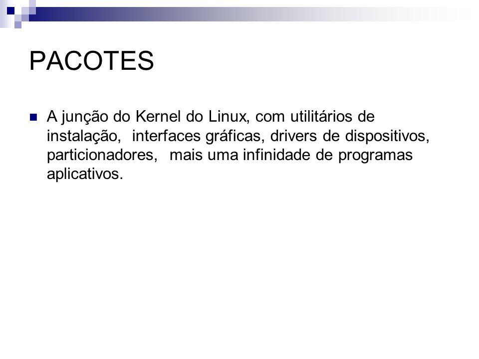 PACOTES A junção do Kernel do Linux, com utilitários de instalação, interfaces gráficas, drivers de dispositivos, particionadores, mais uma infinidade