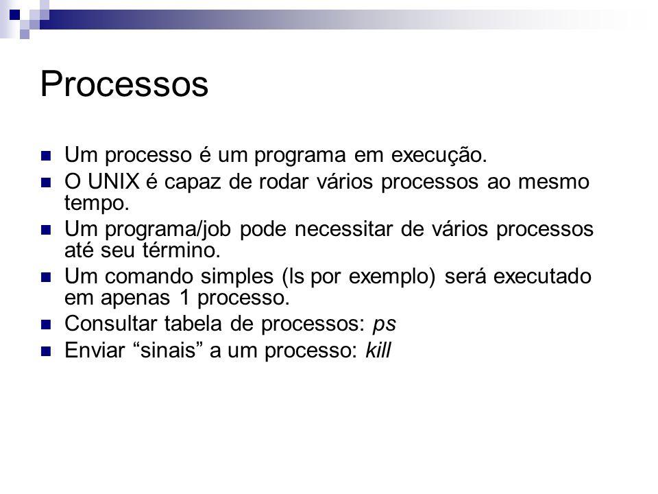 Processos Um processo é um programa em execução. O UNIX é capaz de rodar vários processos ao mesmo tempo. Um programa/job pode necessitar de vários pr