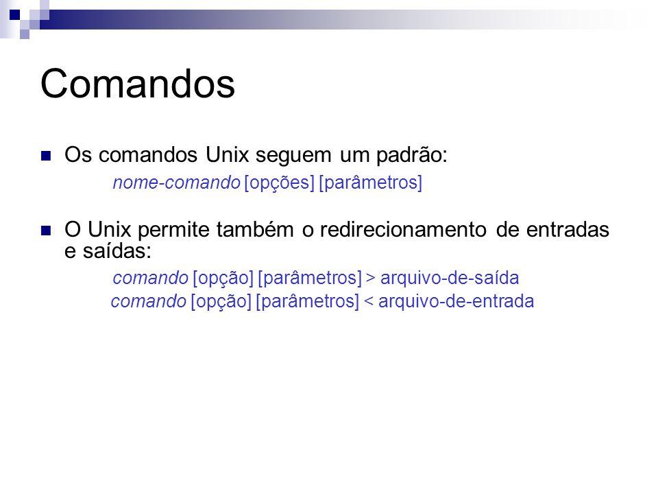 Comandos Os comandos Unix seguem um padrão: nome-comando [opções] [parâmetros] O Unix permite também o redirecionamento de entradas e saídas: comando