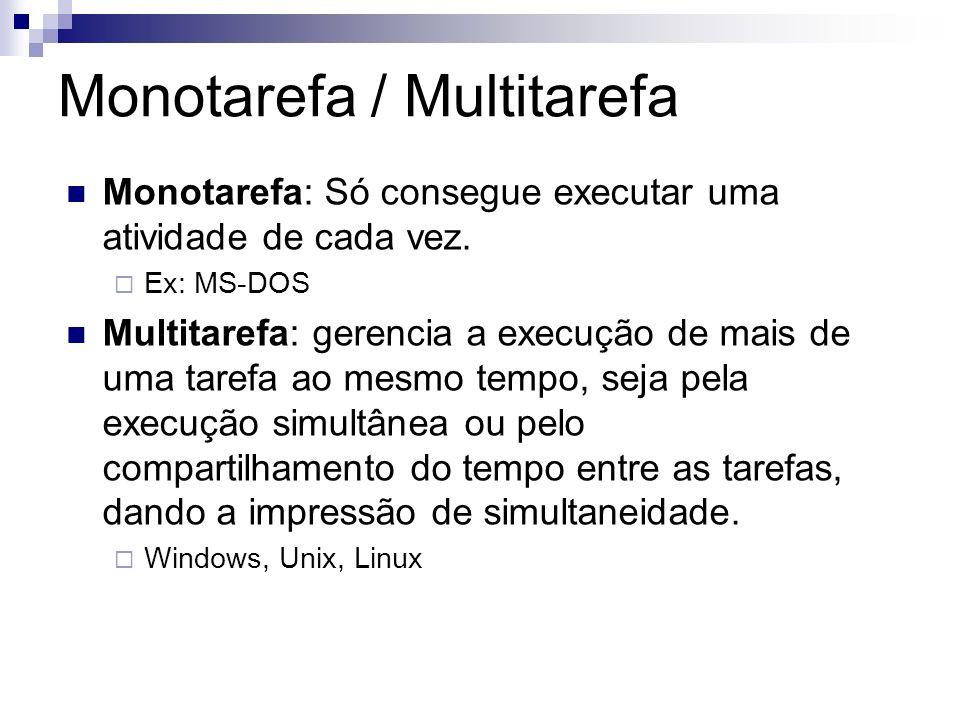 Monotarefa / Multitarefa Monotarefa: Só consegue executar uma atividade de cada vez. Ex: MS-DOS Multitarefa: gerencia a execução de mais de uma tarefa