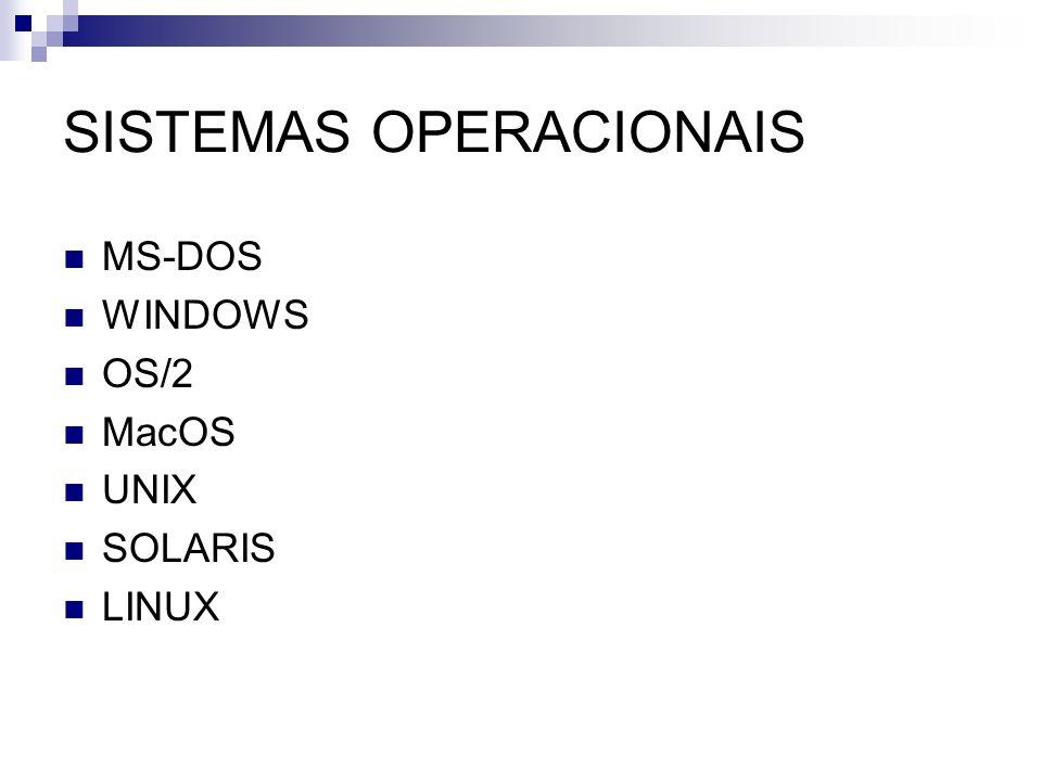 SISTEMAS OPERACIONAIS MS-DOS WINDOWS OS/2 MacOS UNIX SOLARIS LINUX