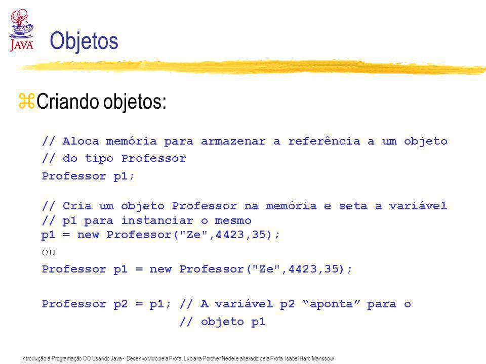 Introdução à Programação OO Usando Java - Desenvolvido pela Profa. Luciana Porcher Nedel e alterado pela Profa. Isabel Harb Manssour Objetos zCriando