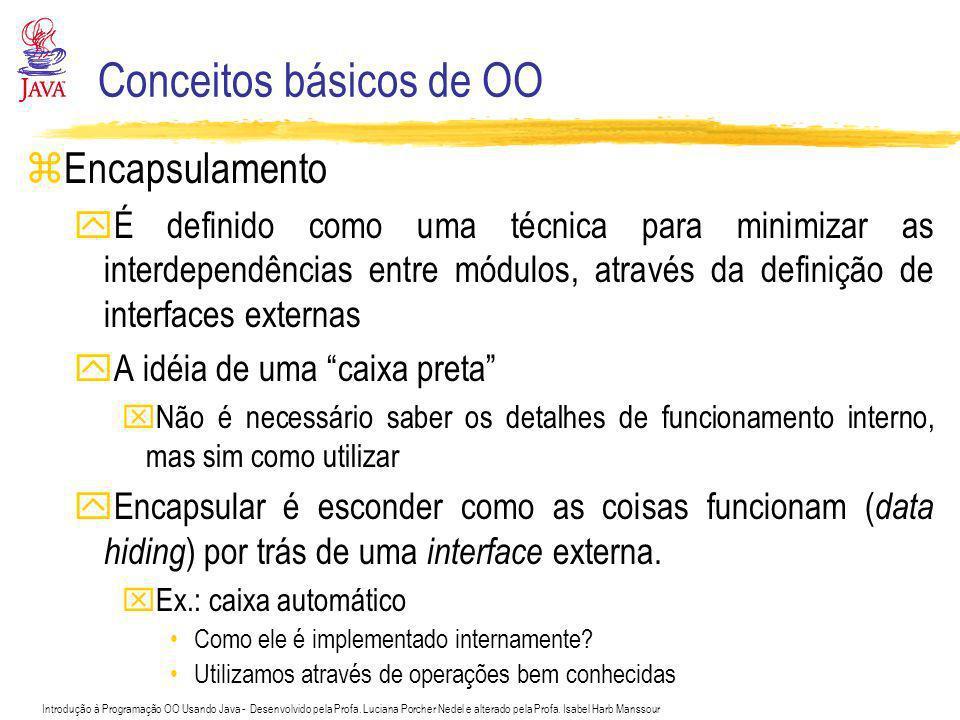 Introdução à Programação OO Usando Java - Desenvolvido pela Profa. Luciana Porcher Nedel e alterado pela Profa. Isabel Harb Manssour Conceitos básicos