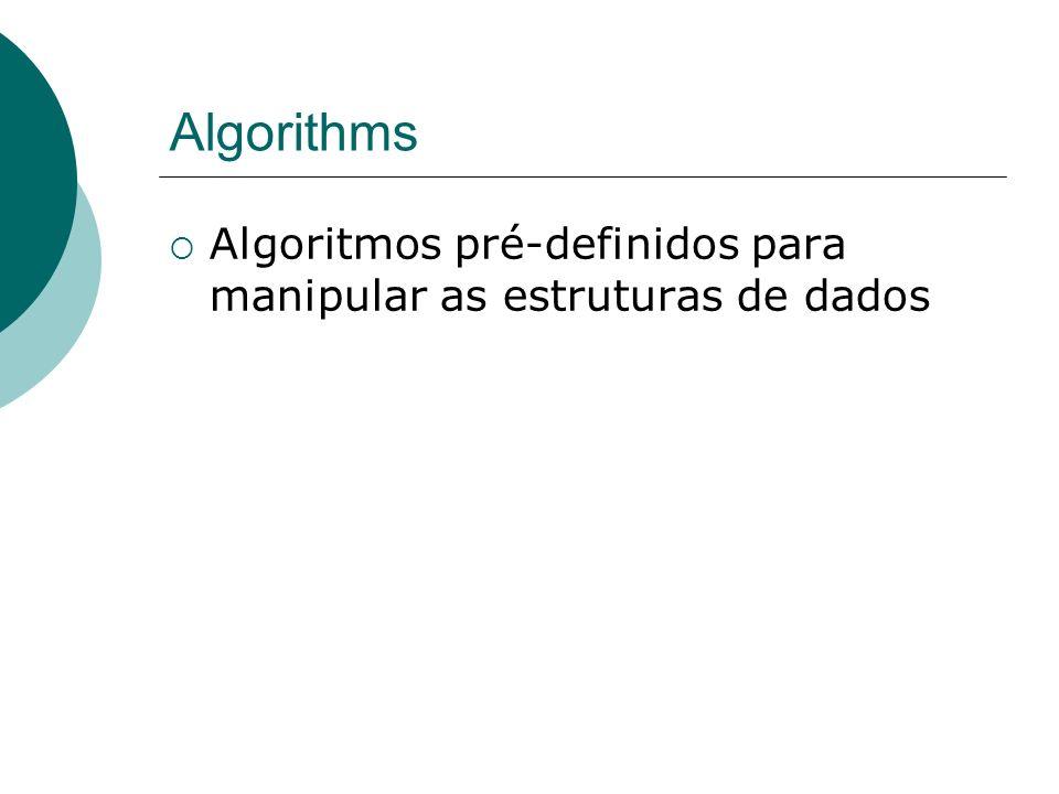 Algorithms Algoritmos pré-definidos para manipular as estruturas de dados