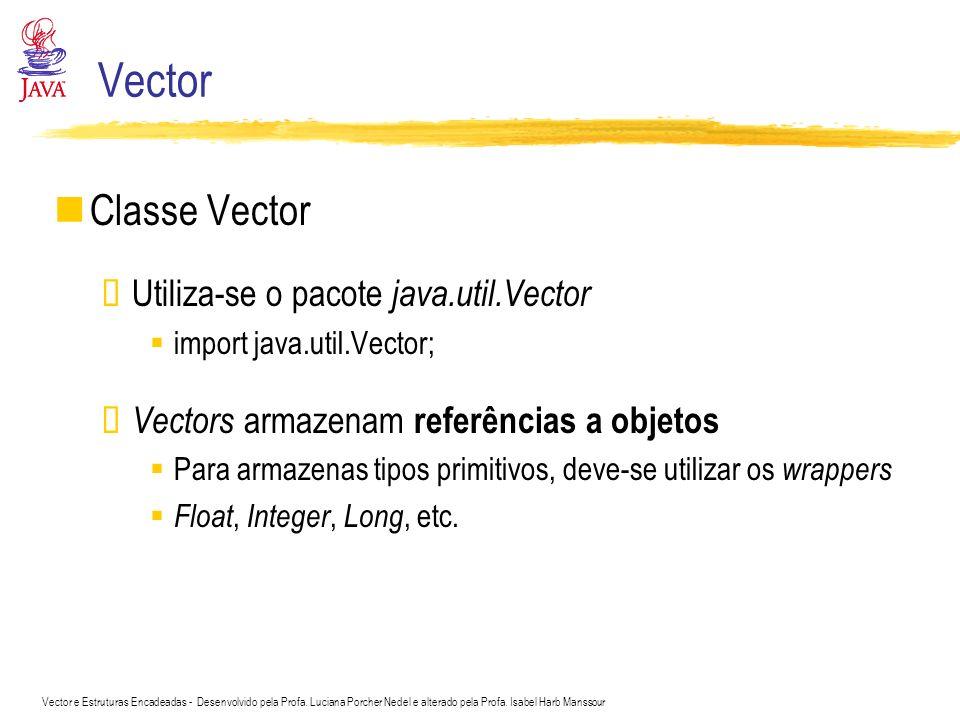 Vector e Estruturas Encadeadas - Desenvolvido pela Profa. Luciana Porcher Nedel e alterado pela Profa. Isabel Harb Manssour Vector Classe Vector Utili