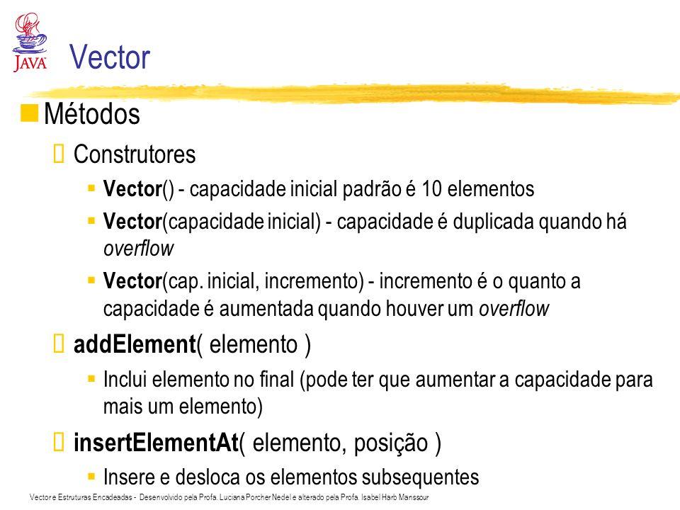 Vector e Estruturas Encadeadas - Desenvolvido pela Profa. Luciana Porcher Nedel e alterado pela Profa. Isabel Harb Manssour Vector Métodos Construtore