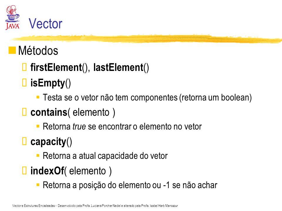 Vector e Estruturas Encadeadas - Desenvolvido pela Profa. Luciana Porcher Nedel e alterado pela Profa. Isabel Harb Manssour Vector Métodos firstElemen