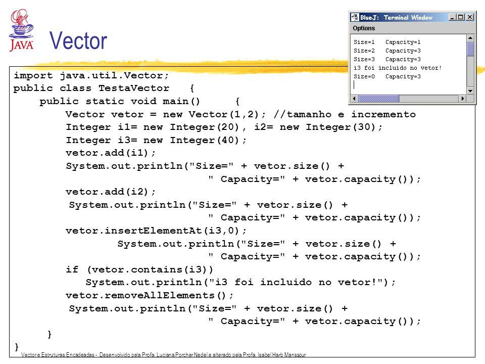 Vector e Estruturas Encadeadas - Desenvolvido pela Profa. Luciana Porcher Nedel e alterado pela Profa. Isabel Harb Manssour Vector import java.util.Ve