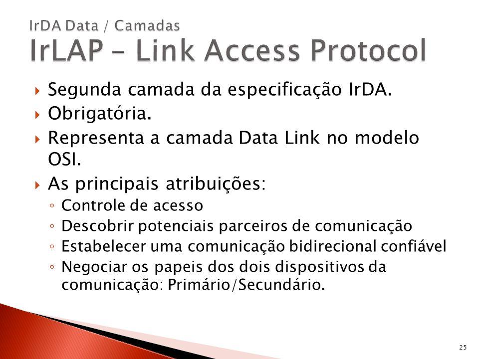 Segunda camada da especificação IrDA. Obrigatória. Representa a camada Data Link no modelo OSI. As principais atribuições: Controle de acesso Descobri