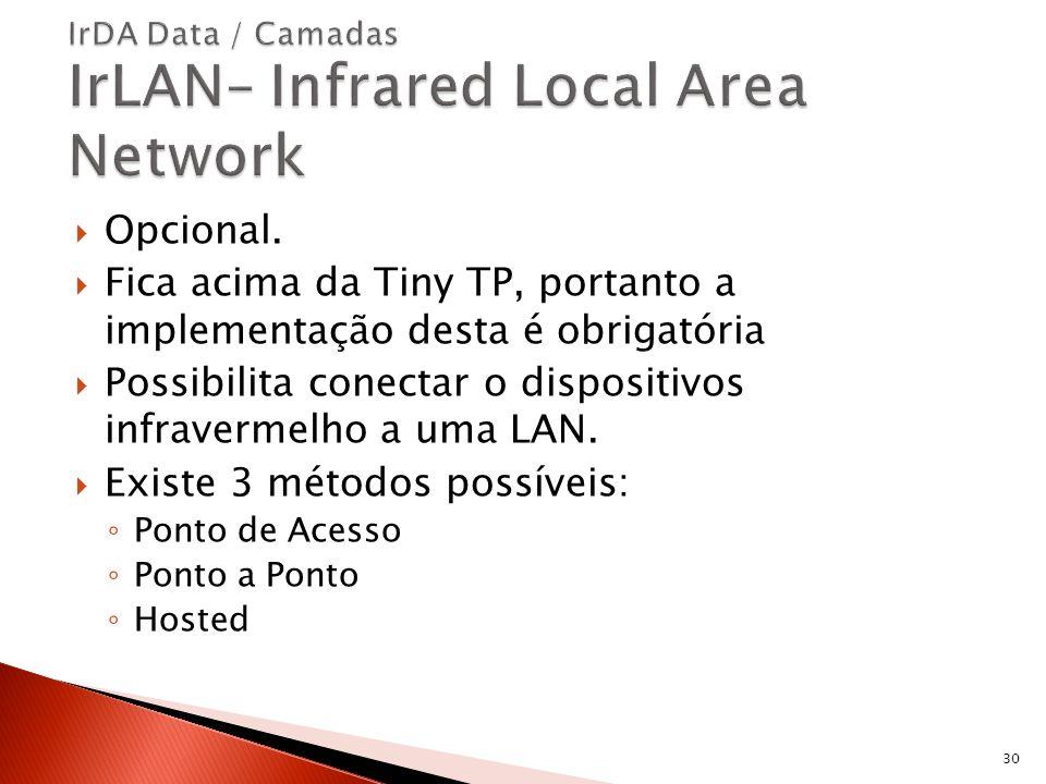 Opcional. Fica acima da Tiny TP, portanto a implementação desta é obrigatória Possibilita conectar o dispositivos infravermelho a uma LAN. Existe 3 mé