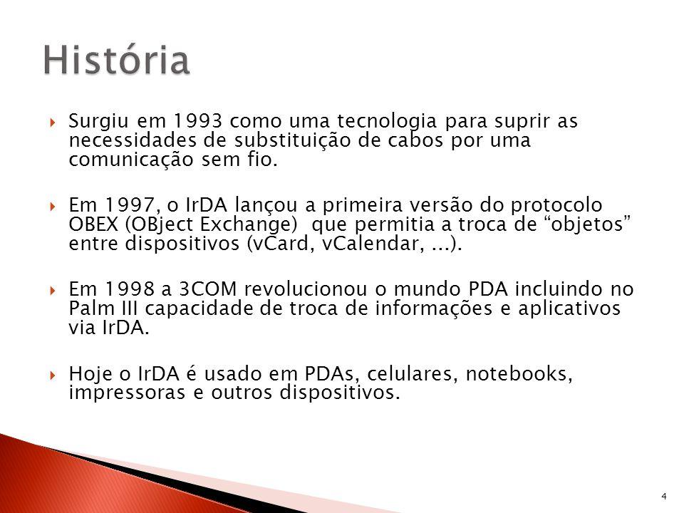 Surgiu em 1993 como uma tecnologia para suprir as necessidades de substituição de cabos por uma comunicação sem fio. Em 1997, o IrDA lançou a primeira