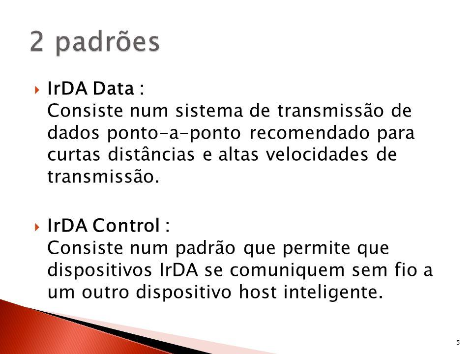IrDA Data : Consiste num sistema de transmissão de dados ponto-a-ponto recomendado para curtas distâncias e altas velocidades de transmissão. IrDA Con