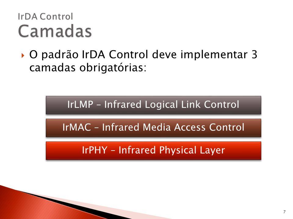 IrPHY Distância de operação igual aos atuais controles remotos unidirecionais Comunicação bidirecional Taxa de transmissão máxima de 75kb/s É otimizada para baixo custo e baixo gasto de energia IrMAC Habilita o dispositivo host a comunicar com múltiplos periféricos (mais de 8 simultaneamente) Assegura uma resposta rápida (13,8 ms) e baixa latência IrLLC Mantém o fluxo de dados, assegurando retransmissão na ocorrência de erros 8