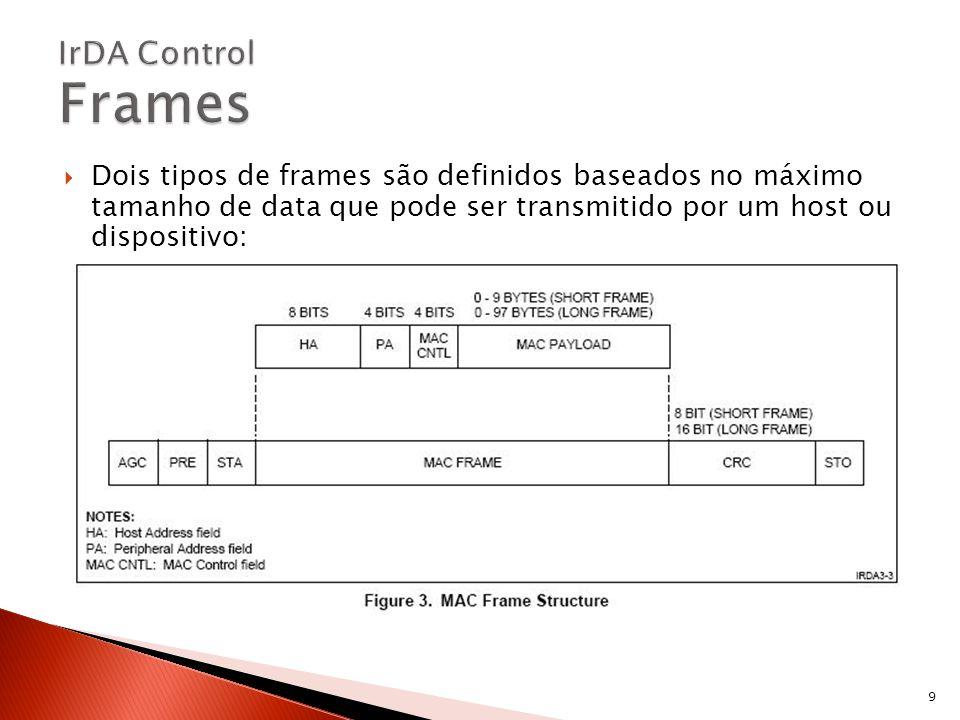 Dois tipos de frames são definidos baseados no máximo tamanho de data que pode ser transmitido por um host ou dispositivo: 9