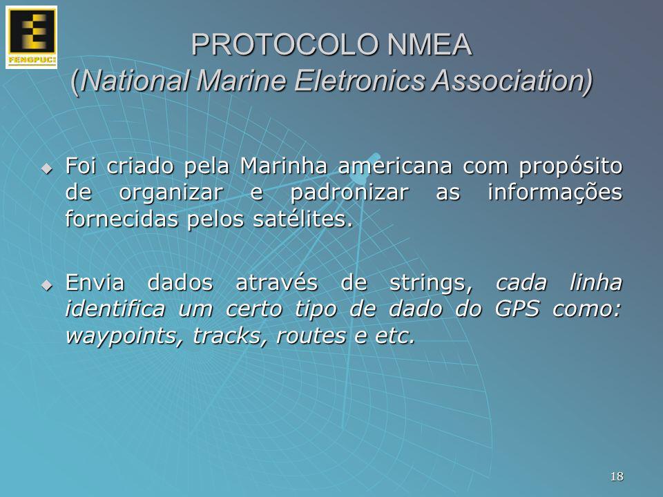 PROTOCOLO NMEA (National Marine Eletronics Association) Foi criado pela Marinha americana com propósito de organizar e padronizar as informações forne