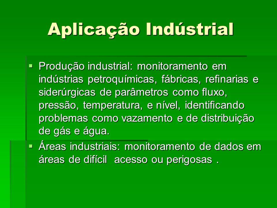 Aplicação Indústrial Produção industrial: monitoramento em indústrias petroquímicas, fábricas, renarias e siderúrgicas de parâmetros como uxo, pressão