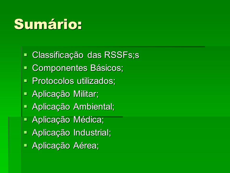 Sumário: Classificação das RSSFs;s Classificação das RSSFs;s Componentes Básicos; Componentes Básicos; Protocolos utilizados; Protocolos utilizados; A