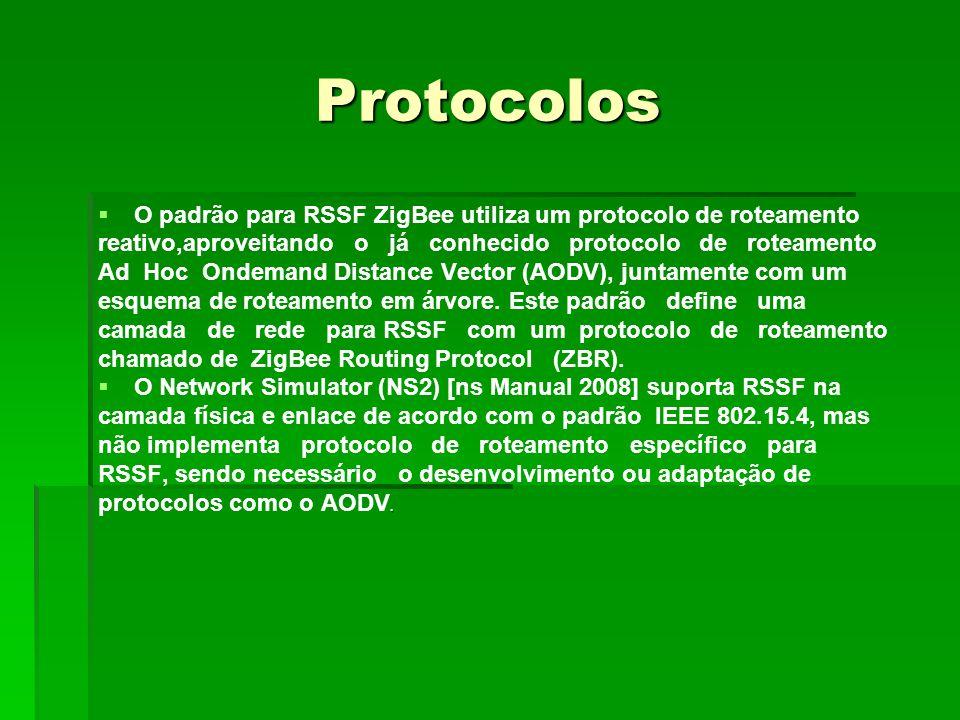 Protocolos O padrão para RSSF ZigBee utiliza um protocolo de roteamento reativo,aproveitando o já conhecido protocolo de roteamento Ad Hoc Ondemand D