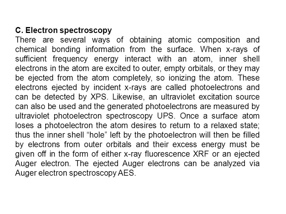 C. Electron spectroscopy There are several ways of obtaining atomic composition and chemical bonding information from the surface. When x-rays of suff