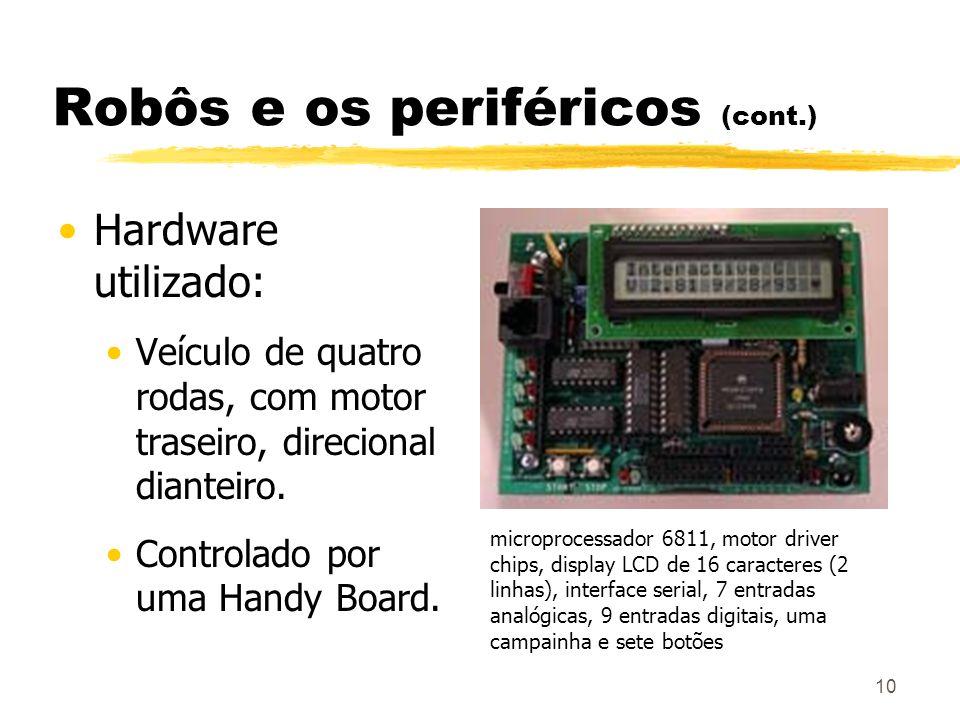 10 Robôs e os periféricos (cont.) Hardware utilizado: Veículo de quatro rodas, com motor traseiro, direcional dianteiro. Controlado por uma Handy Boar