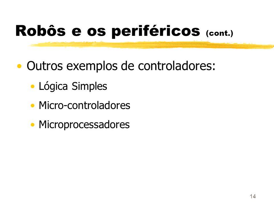 14 Robôs e os periféricos (cont.) Outros exemplos de controladores: Lógica Simples Micro-controladores Microprocessadores