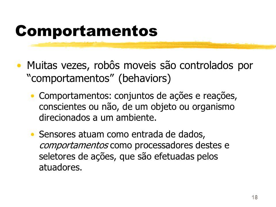 18 Comportamentos Muitas vezes, robôs moveis são controlados por comportamentos (behaviors) Comportamentos: conjuntos de ações e reações, conscientes