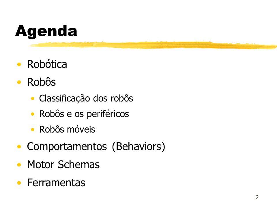 2 Agenda Robótica Robôs Classificação dos robôs Robôs e os periféricos Robôs móveis Comportamentos (Behaviors) Motor Schemas Ferramentas