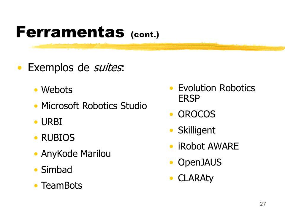 27 Ferramentas (cont.) Exemplos de suites: Evolution Robotics ERSP OROCOS Skilligent iRobot AWARE OpenJAUS CLARAty Webots Microsoft Robotics Studio UR