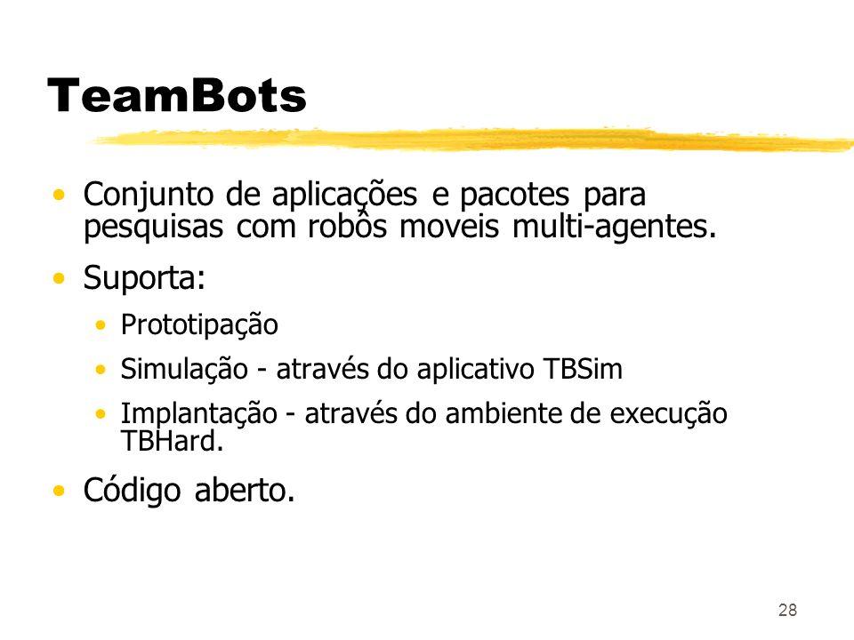 28 TeamBots Conjunto de aplicações e pacotes para pesquisas com robôs moveis multi-agentes. Suporta: Prototipação Simulação - através do aplicativo TB