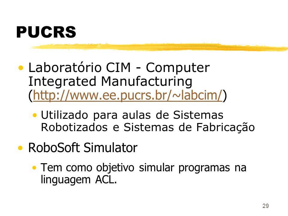 29 PUCRS Laboratório CIM - Computer Integrated Manufacturing (http://www.ee.pucrs.br/~labcim/)http://www.ee.pucrs.br/~labcim/ Utilizado para aulas de