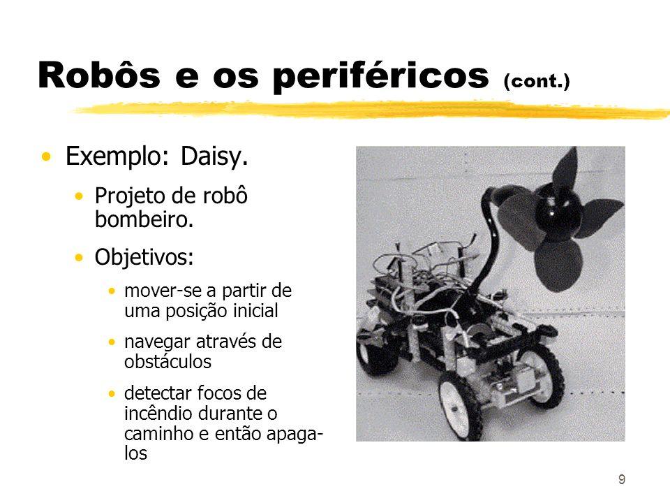 9 Robôs e os periféricos (cont.) Exemplo: Daisy. Projeto de robô bombeiro. Objetivos: mover-se a partir de uma posição inicial navegar através de obst