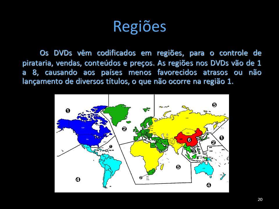 Regiões Os DVDs vêm codificados em regiões, para o controle de pirataria, vendas, conteúdos e preços. As regiões nos DVDs vão de 1 a 8, causando aos p