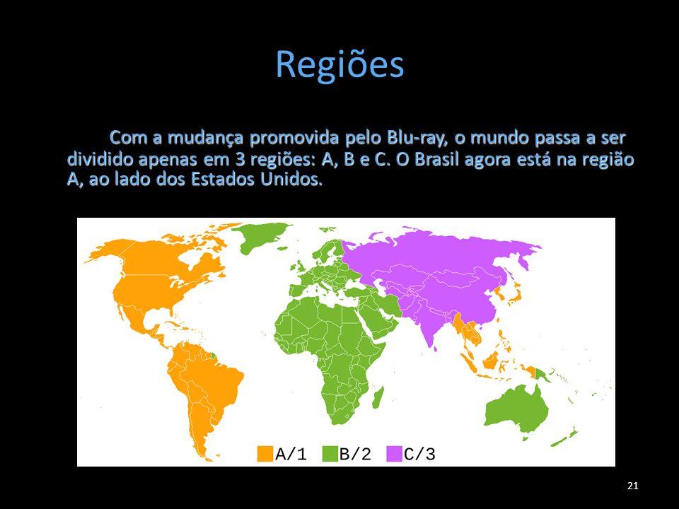 Regiões Com a mudança promovida pelo Blu-ray, o mundo passa a ser dividido apenas em 3 regiões: A, B e C. O Brasil agora está na região A, ao lado dos
