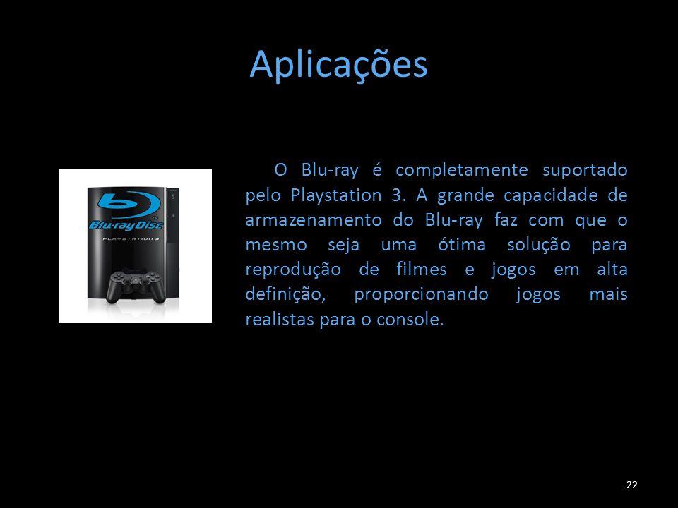 Aplicações 22 O Blu-ray é completamente suportado pelo Playstation 3. A grande capacidade de armazenamento do Blu-ray faz com que o mesmo seja uma óti