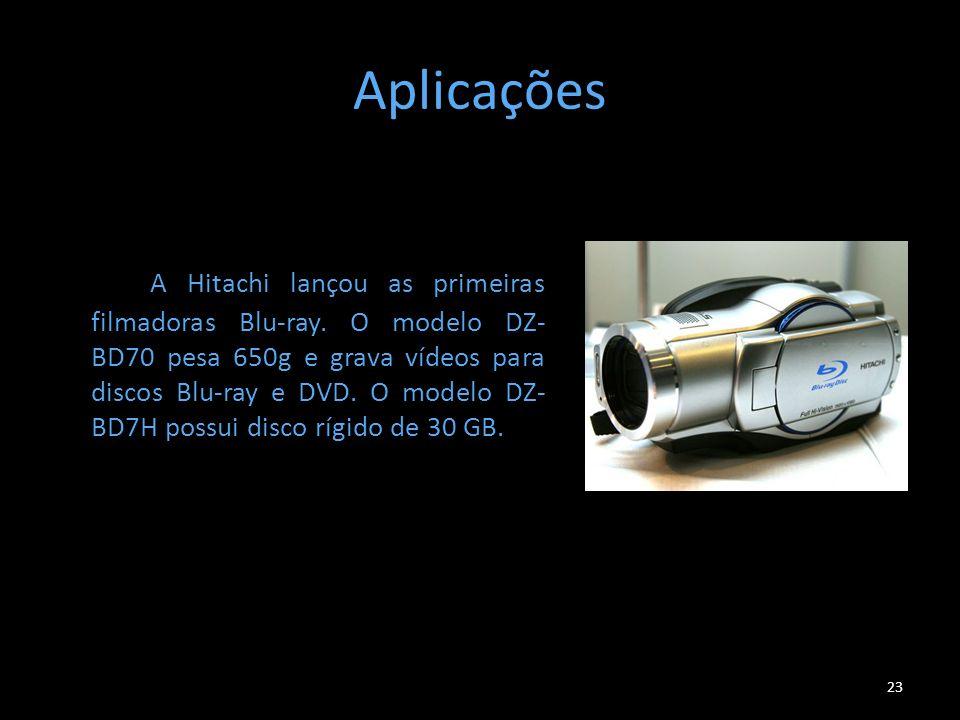 Aplicações A Hitachi lançou as primeiras filmadoras Blu-ray. O modelo DZ- BD70 pesa 650g e grava vídeos para discos Blu-ray e DVD. O modelo DZ- BD7H p