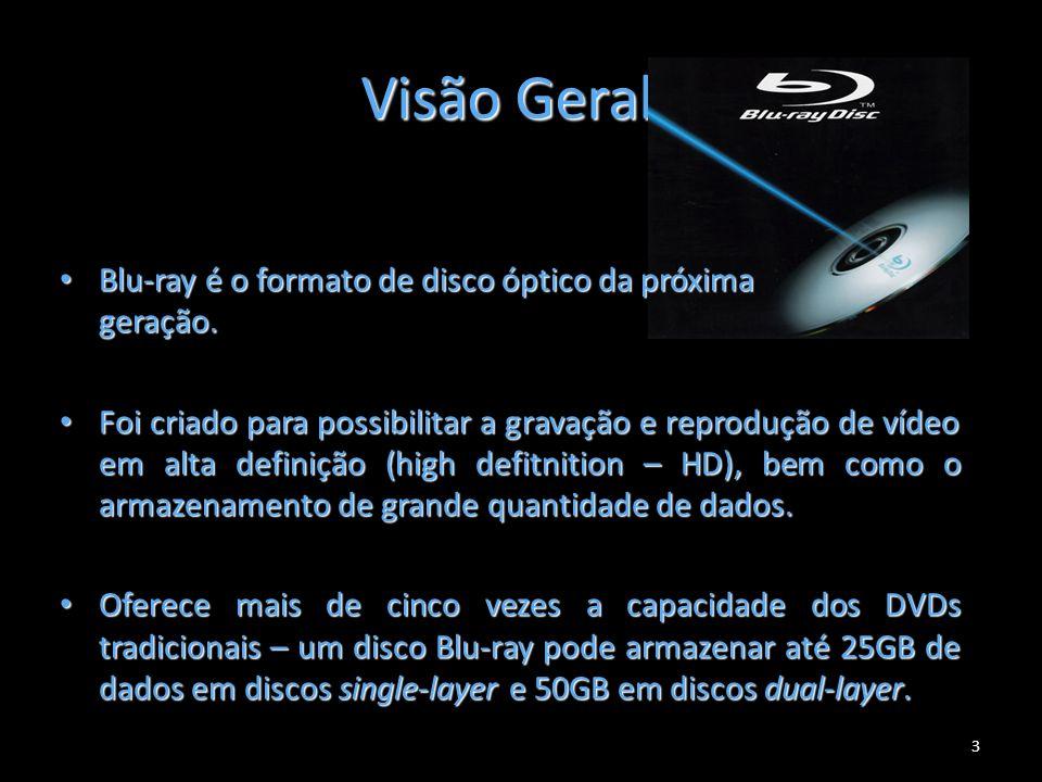 Visão Geral 3 Blu-ray é o formato de disco óptico da próxima geração. Blu-ray é o formato de disco óptico da próxima geração. Foi criado para possibil